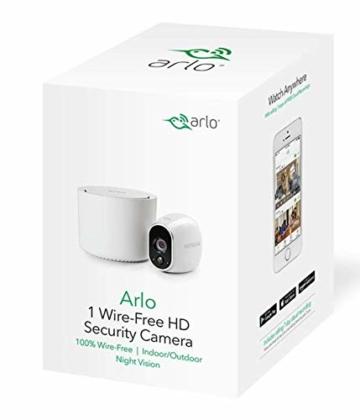Arlo HD WLAN Überwachungskamera, 1er Set, kabellos, Innen / Aussen, Bewegungsmelder, Nachtsicht, Smart Home, CCTV, wetterfest, VMS3130, Weiß - 5