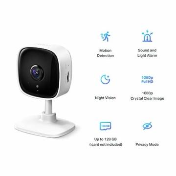 TP-Link Tapo C100 WLAN IP Kamera Überwachungskamera innen (1080p-Auflösung, 2 Wege Audio, 9m Nachtsicht , bis zu 128 GB lokaler Speicher auf SIM Karte,Tapo App, kompatibel mit Alexa, Google Assistant) - 2
