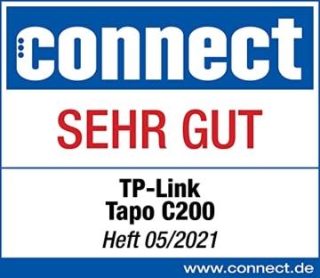 TP-Link Tapo C200 WLAN IP Kamera Überwachungskamera (Linsenschwenkung- und Neigung, 1080p-Auflösung, 2-Wege-Audio, Nachtsicht zu 9m, bis zu 128 GB lokaler Speicher auf SIM Karte) Weiß - 2