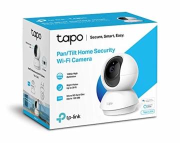 TP-Link Tapo C200 WLAN IP Kamera Überwachungskamera (Linsenschwenkung- und Neigung, 1080p-Auflösung, 2-Wege-Audio, Nachtsicht zu 9m, bis zu 128 GB lokaler Speicher auf SIM Karte) Weiß - 6